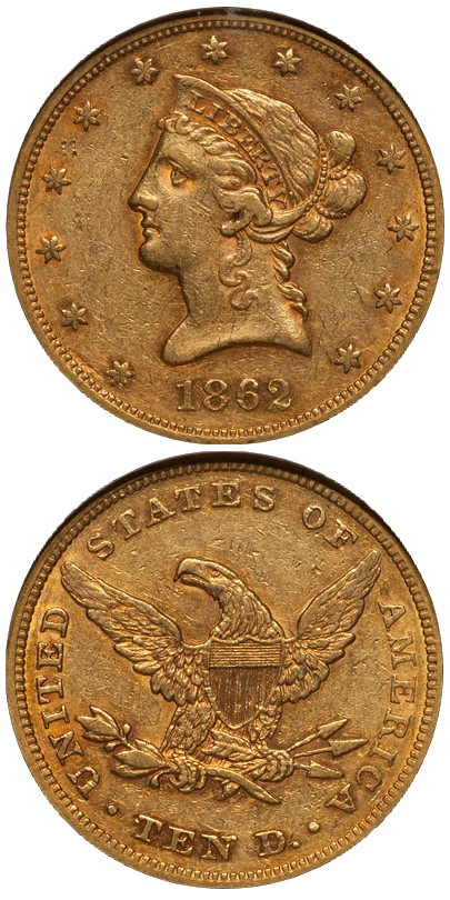 dw 1862 10 Liberty Head Eagles and The Condition Census: Part One