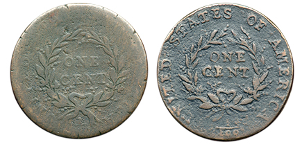 1793rev3 Two of Four Known Strawberry Leaf Large Cents Sell in the FUN Auction of the Mervis Collection