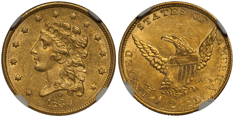 1839 The Ten Most Marketable New Orleans Gold Coins