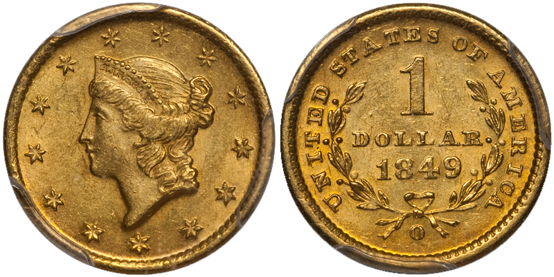 1849 The Ten Most Marketable New Orleans Gold Coins