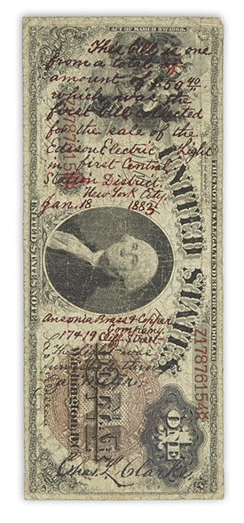 note Bonhams to Offer Historic Edison Banknote: First Dollar Collected For Electric Light in New York City