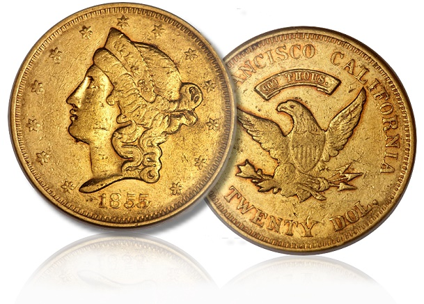unique 1855 wass Newly Discovered Variety, Unique Example of 1855 Wass, Molitor $20 Territorial Gold to be Sold