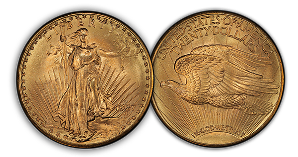 1927d3 The Rarest 20th Century, Regular U.S. Coins: 1927 D Saint Gaudens Double Eagles ($20 gold pieces)