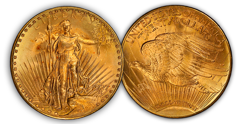 1927d4 The Rarest 20th Century, Regular U.S. Coins: 1927 D Saint Gaudens Double Eagles ($20 gold pieces)
