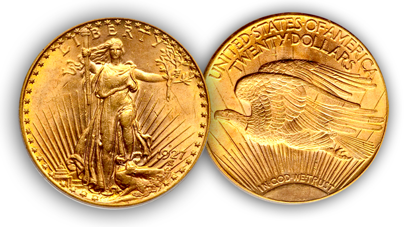 1927d5 The Rarest 20th Century, Regular U.S. Coins: 1927 D Saint Gaudens Double Eagles ($20 gold pieces)