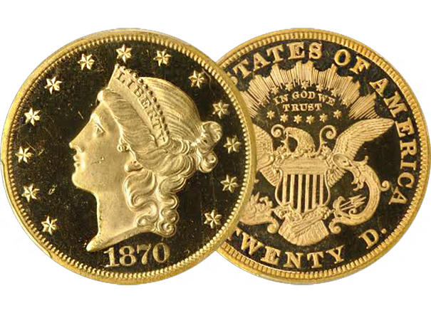 20lib1 1870 Double Eagle Proof Featured at GreatCollections