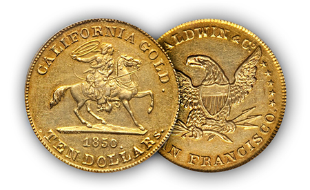 "california1 ""The Riverboat Collection"" of Private & Territorial gold coins to make big waves at Central States Auction"