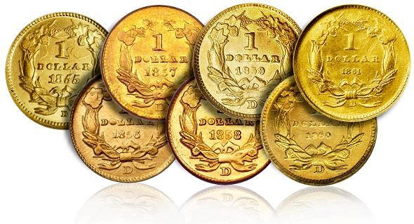 dmint gd Rare Gold Coins for less than $5000 each, Part 3:  19th Century One Dollar Gold Pieces