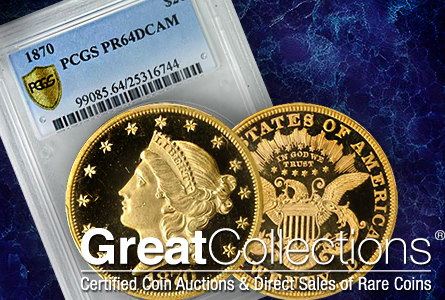 1870 Double Eagle Proof Featured at GreatCollections