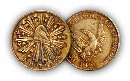 "gold5 ""The Riverboat Collection"" of Private & Territorial gold coins to make big waves at Central States Auction"