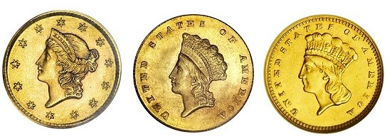 gold dollars 2 Rare Gold Coins for less than $5000 each, Part 3:  19th Century One Dollar Gold Pieces