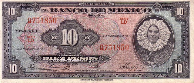 mex 10peso note Mexican Banknotes: Two Mexican Women   a lady with a reputation and a beauty queen