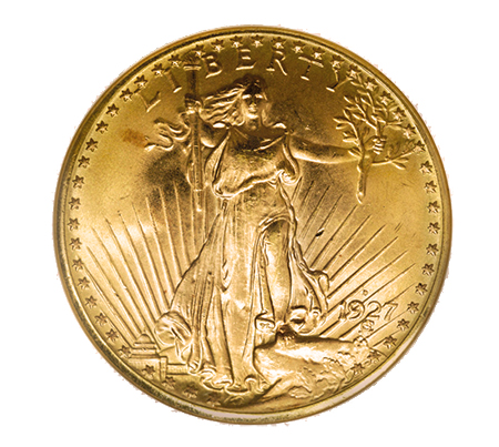 ms651927d The Rarest 20th Century, Regular U.S. Coins: 1927 D Saint Gaudens Double Eagles ($20 gold pieces)