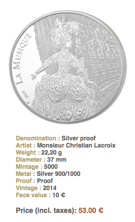 rameausilver1 Monnaie de Paris Releases Silver and Gold Coins Honoring Jean Philippe Rameau