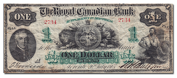 1865 1 Royal Canadian Bank Geoffrey Bell Auctions at the Toronto Coin Expo The Royals are Coming To The Toronto Coin Expo
