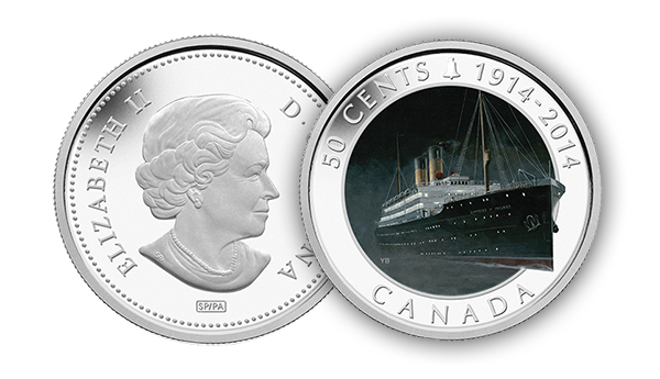 2014 50 Cent Silver Plated Coin R.M.S. Empress of Ireland reverse New Royal Canadian Mint Catalog Released