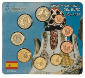mintset 275x253 Spanish 2014 Mint Sets Include 2 Euro Coin Honoring Antonin Gaudís Park Güell