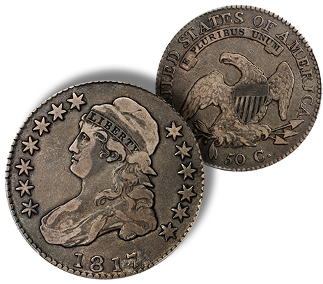 181741 Newly Discovered 1817/4 Half Dollar to be offered by Stacks Bowers Galleries