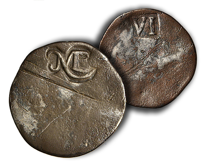 Royse Potato Sixpence The First Coins Struck in The Original Thirteen Colonies: Massachusetts ('NE') Silver of 1652