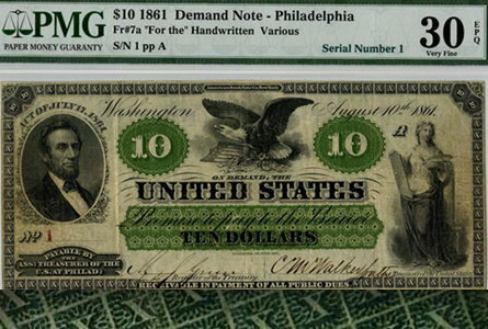 Rare U.S. Currency: PMG Grades Third Known Serial Number 1 Philadelphia $10 Demand 1861 Note