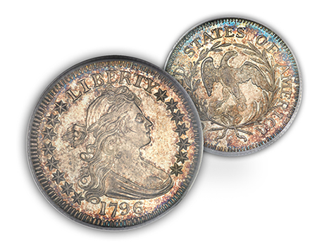 1796eliasberg25c Million Dollar Coins in ANA Auctions, part 2, with interpretation of Specimen designations