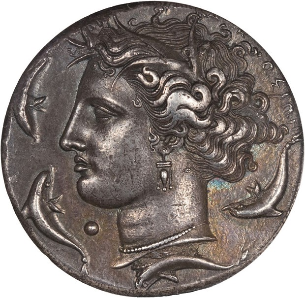 Euainetos obv Magnificent Syracuse Decadrachm Tops Heritage World & Ancient Coin Platinum Night Auction