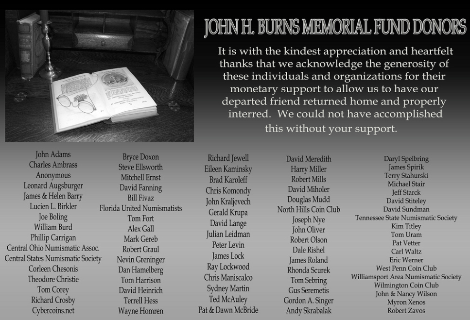 burnsdonors Excerpts from the e Sylum: John Burns Memorial Fund Update