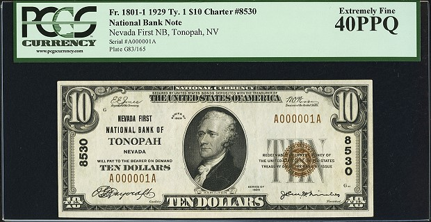 fr1801 Serial Number 1 National Currency from Nevada with Could Bring $50K in Heritage Currency Auctions