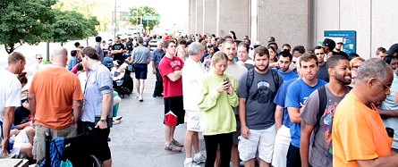 Lines outside the Philadelphia Mint, August 6, 2014.