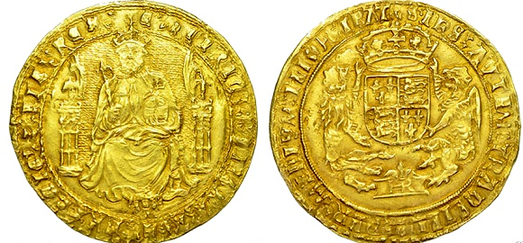 ELIZABETH I SOVEREIGN, SIXTH ISSUE, mm. ESCALLOP, [1584-6]