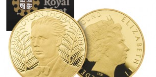 The Royal Mint commemorates the 100th anniversary of the birth of Dylan Thomas with Alderney coins