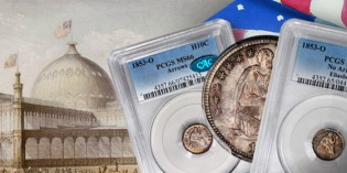 Eight Gem Unc. 1853 Half Dimes (silver 5¢ coins) Auctioned in a Week