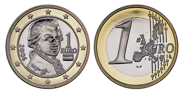 collecting the coins of austria 1 euro coin. Black Bedroom Furniture Sets. Home Design Ideas