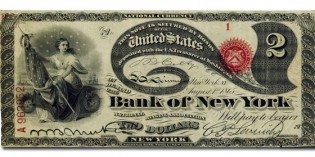 "Exceptional Bank of New York Bank Note Serial Number 1 ""Lazy Deuce"" Offered in May Rarities Auction with Sotheby's"