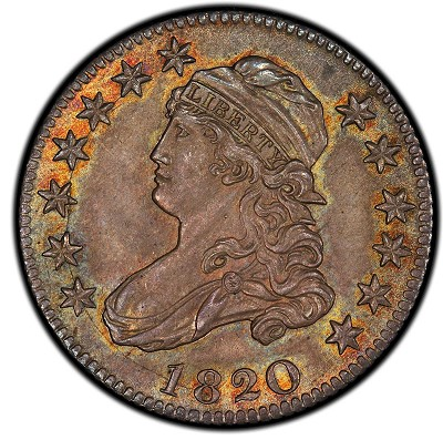 Pogue Lot 1064 -  1820 Capped Bust Quarter. Browning-3. Medium 0. Rarity-3. Mint State-66 (PCGS).