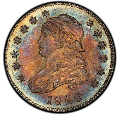 Pogue Lot 1065 -  1820 Capped Bust Quarter. 1820 Browning-5. Rarity-5. Small 0. Mint State-66 (PCGS).