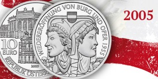 Collecting the Coins of Austria: Reopening of the Burgtheater and Opera 1955 | Wiederöffnung von Burg und Oper 1955 10-Euro Silver Coin (2005)