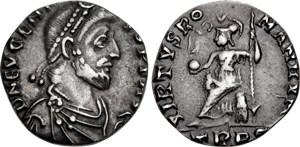 silver siliqua of the Roman usurper Eugenius (A.D. 392 to 394)