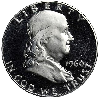 1960 Franklin Half Dollar with Ultra Cameo