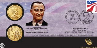 2015 Lyndon B. Johnson $1 Coin Cover on Sale Sept. 17