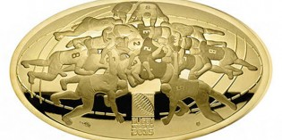 France 2015 Rugby World Cup 200 Euro Concave Oblong Proof Gold Coin