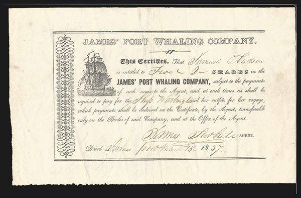 James' Port Whaling Company, 1837, 2 shares
