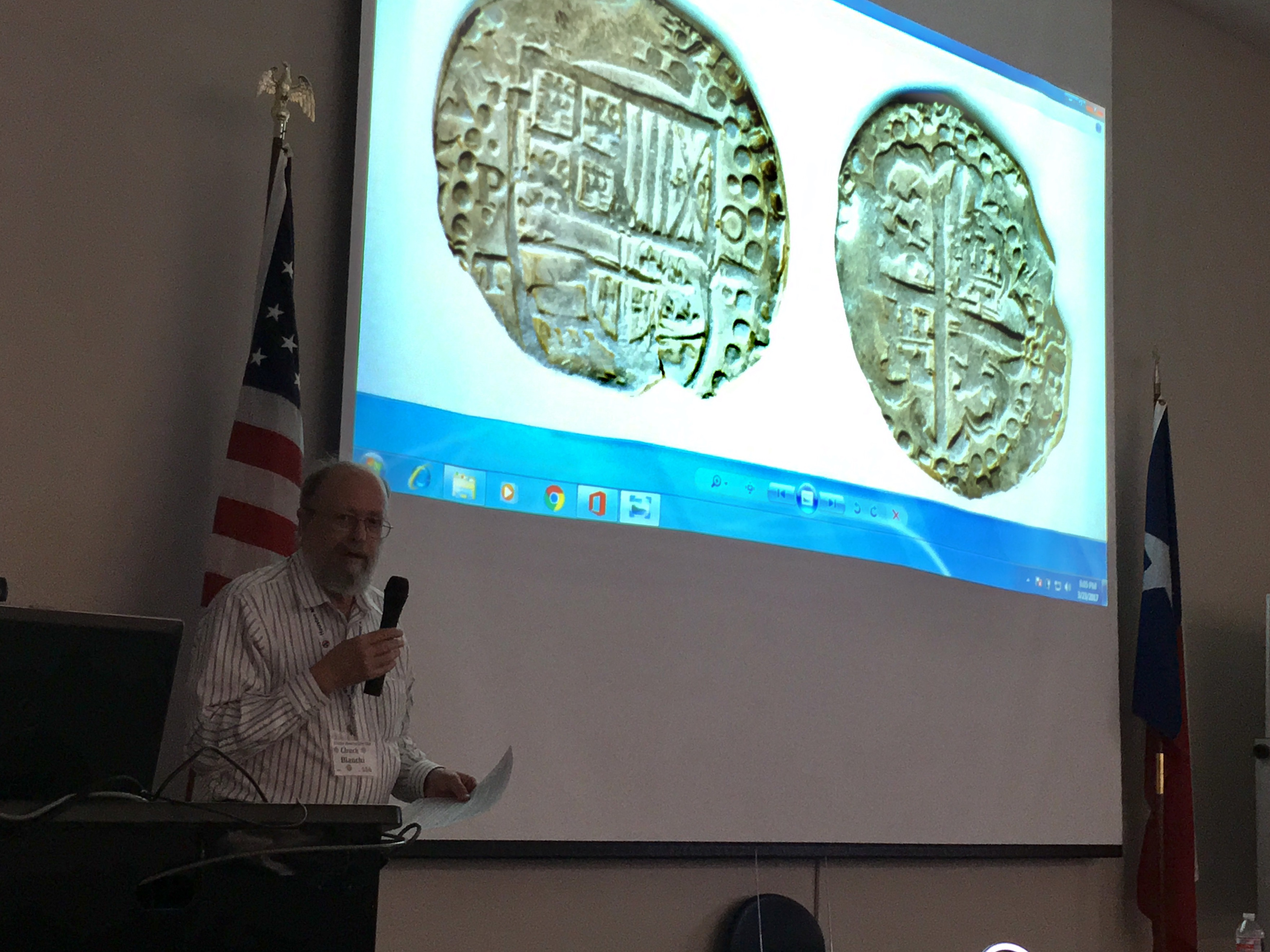 "GHCC club member David ""Chuck"" Bianchi assists Mr. de Leon Tallavas with his presentation about the 1st Intl. Convention of Historians & Numismatists at the march 2017 club meeting"