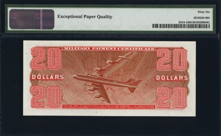 $20 Military Payment Certificate, Series 681, S918 back