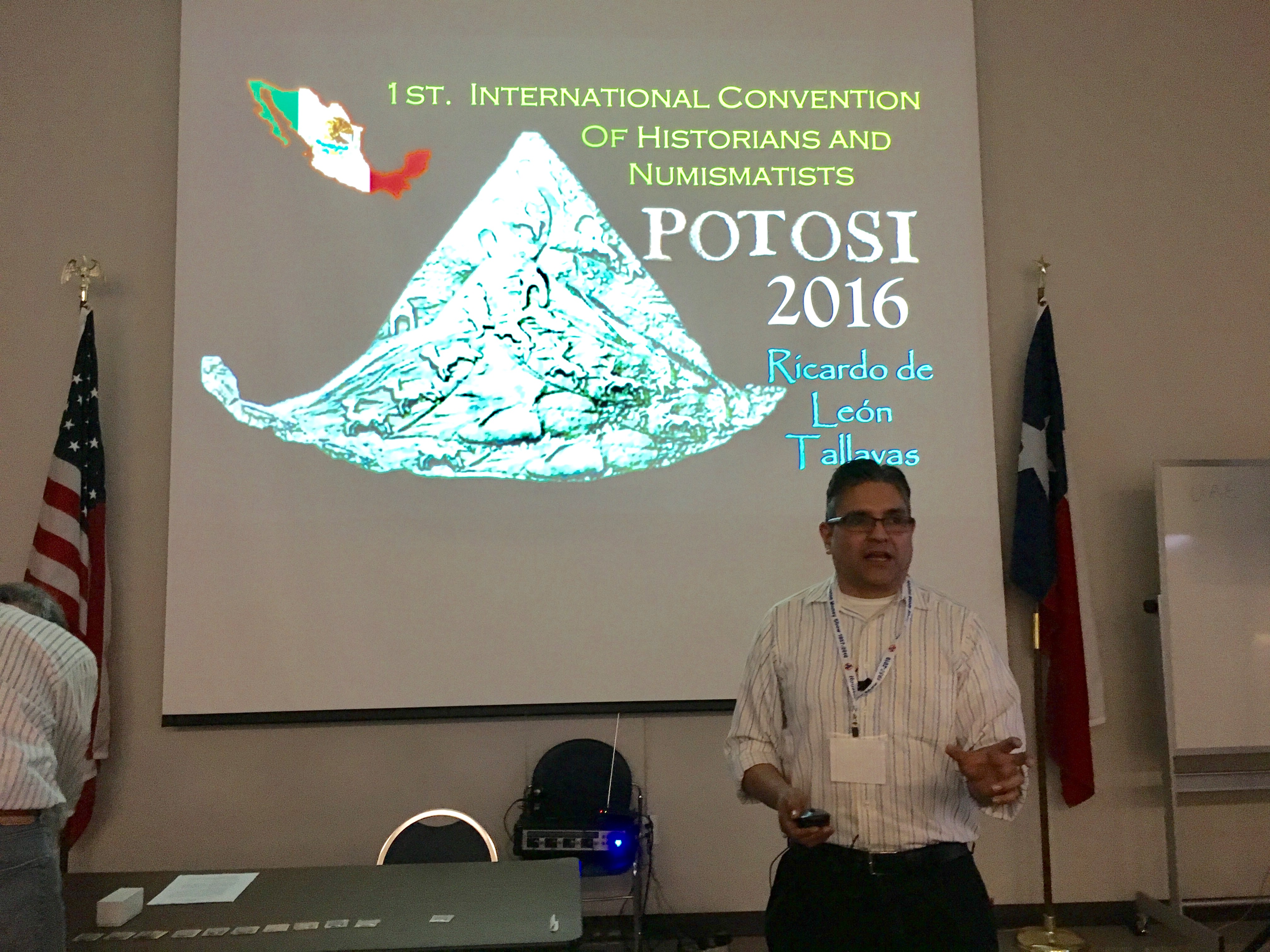 The GHCC's Ricardo de Leon Tallavas gives a presentation about his experiences at the 1st Intl. Convention of Historians & Numismatists at the march 2017 club meeting
