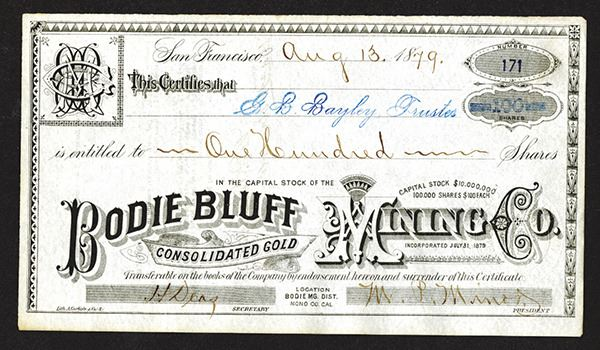 Bodie Bluff Consolidated Gold Mining Co. 1879