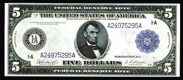 FRN. Boston. $5,1914. Fr# 846