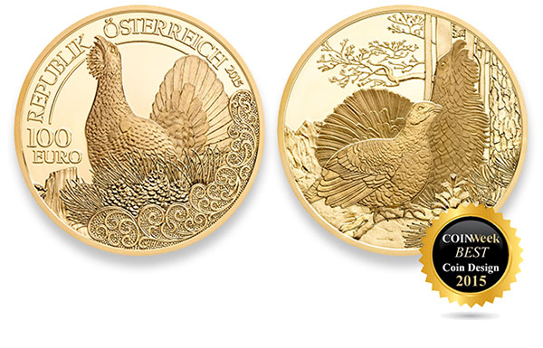 CoinWeek Best Coin Design of 2015: Capercaillie 100 Euro Gold Coin - Austrian Mint