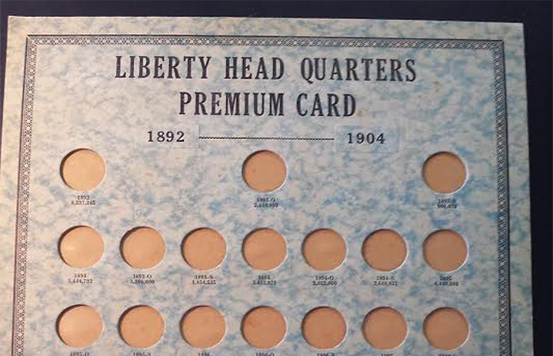 Whitman First Edition Liberty Head Quarter Premium coin album. Courtesy David W. Lange</i>