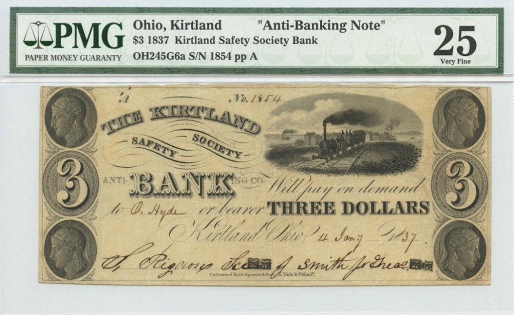 "Ohio, Kirtland, $3 1837 Kirtland Safety Society Bank, ""Anti-Banking Note"", Mormon Currency courtesy of PMG"
